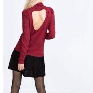Zara Trafaluc Open Back Sweater Red Size Small!